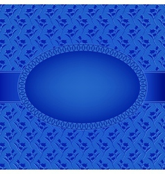 blue card with oval frame on flowers background vector image