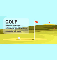 Blue sky and green golf field with hole and flag vector