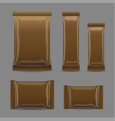 brown blank foil food snack pack for chips vector image