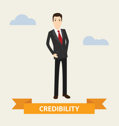 Business man standing with credibility banner vector