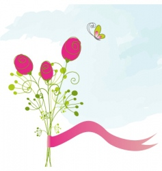 Butterfly greeting card vector