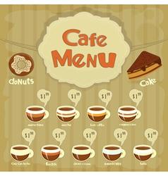 cafe menu coffee vector image