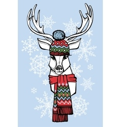 Cartoon deer in Jacquard hatscarfWinter fashion vector