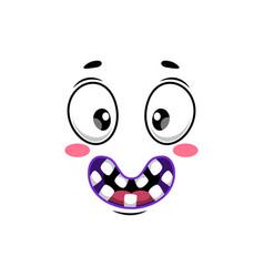 Cartoon face icon wide smile facial emoji vector
