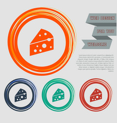 cheese icon on red blue green orange buttons vector image