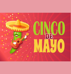 cinco de mayo cucumber character wearing sombrero vector image