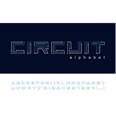 circuit board geometric font digital technology vector image