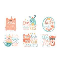 collection kids logo original design templates vector image