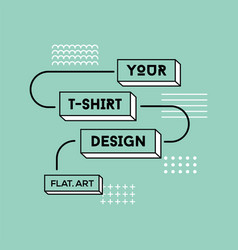 color flat t-shirt print design vector image