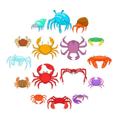 colorful crab icons set cartoon style vector image