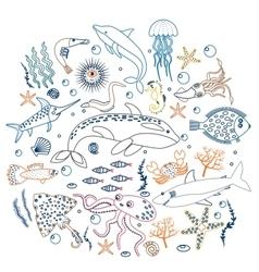 concept set cute sea animals fish color vector image