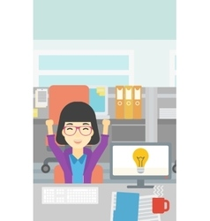 Creative excited woman having business idea vector