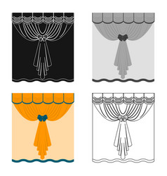 Curtains single icon in cartoon stylecurtains vector