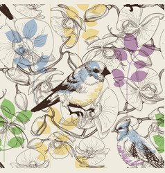 Cute birds and flowers seamless pattern vector