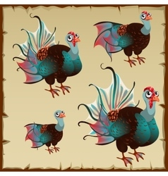 Cute brown turkey with big blue tail vector image