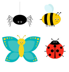 cute cartoon insect set ladybug spider vector image
