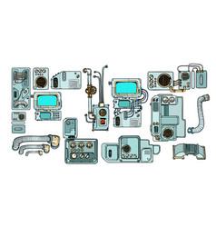 cyberpunk robots mechanisms and machines details vector image