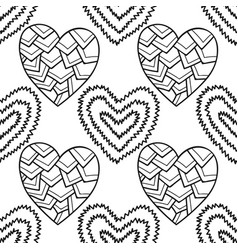 Decorative hearts black and white seamless vector
