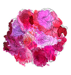 Drawing flowers roses vector