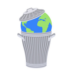 Earth in trash planet and garbage scrapyard vector