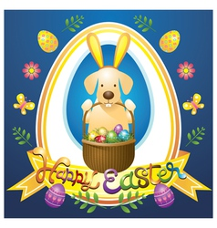 Easter Heading Label with Labrador Dog as Bunny vector image