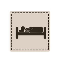 emblem sticker bed and person sleeping vector image
