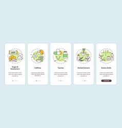 Energy drinks ingredients onboarding mobile app vector