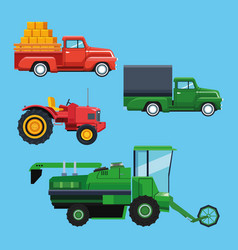 farm tractors and vehicles vector image