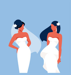 fashionable brides vector image