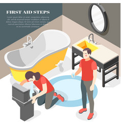 First aid isometric background vector