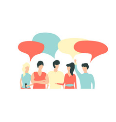 Flat style people discuss social network news vector