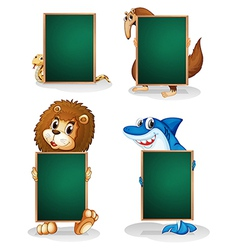 Four animals holding an empty board vector