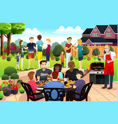 Friends and family gather together having bbq vector