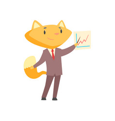 funny businessman fox in a suit standing pointing vector image