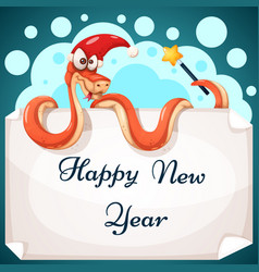 funny cute crazy snake characters happy new vector image