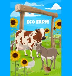 gardening and farming farmer and farm animals vector image