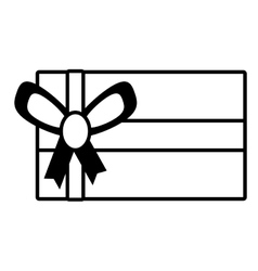gift box festivity party ribbon outline vector image
