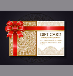 gift card paper certificate with red ribbon bow vector image