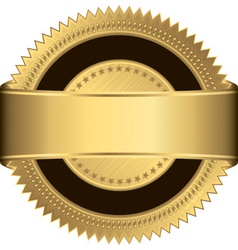 Golden blank label with golden ribbon vector