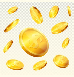 golden coins splash dollar money cash jackpot vector image