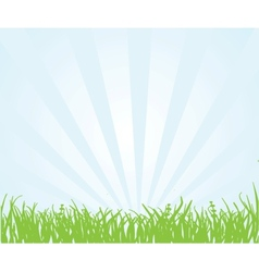 Green field and blue sky vector