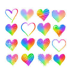Grunge rainbow colored hearts vector