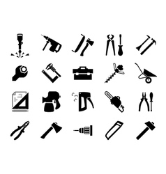 Hand and power tools icons vector image