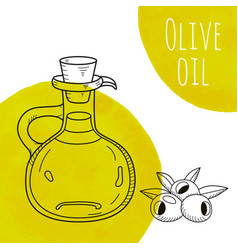 hand drawn olive oil bottle with green watercolor vector image