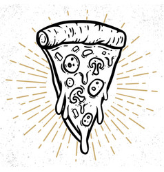 hand drawn pizza design element for poster vector image