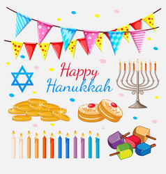 happy hannukkah theme with golden coins and vector image