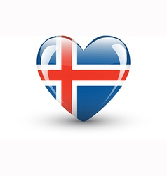 Heart-shaped icon with national flag of Iceland vector
