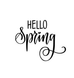 hello spring seasonal greetings hand drawn vector image