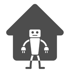 Home Robot Flat Icon vector