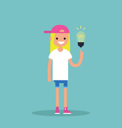 idea concept aha moment young smiling blonde girl vector image